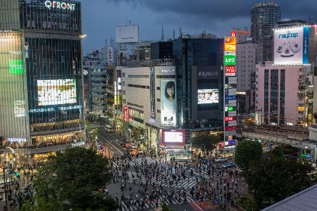 Tokyo's famous Shibuya Crossing, the world's busiest pedestrian passage. Picture: Chris McGrath/Getty Images