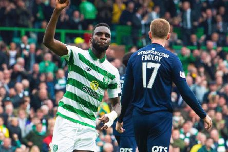 Odsonne Edouard celebrates after netting Celtic's equaliser. Picture: SNS
