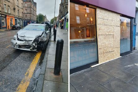 The Costa has been boarded up and the taxi has been badly damaged.