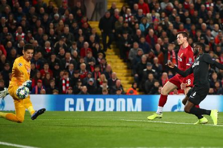 Scotland captain Andy Robertson scores Liverpool's second.Picture: Clive Brunskill/Getty