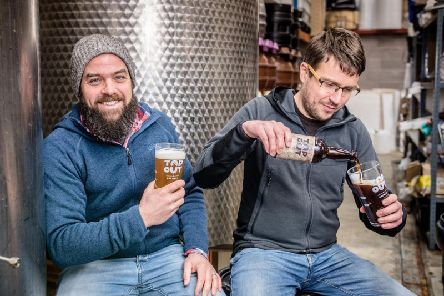 German brewers Andi Scheib (left) and Michael Hopert run Top Out Brewery in Loanhead. Picture: contributed.