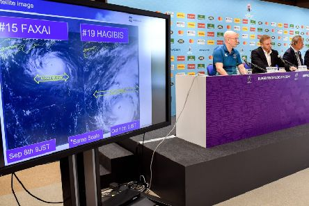 RWC tournament director Alan Gilpin, centre, on Typhoon Hagibis, cancelling games and refusing to be flexible.  Photograph: William WestAFP/Getty Images