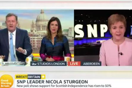 Nicola Sturgeon appeared on Good Morning Britain, hosted by Piers Morgan and Susanna Reid.