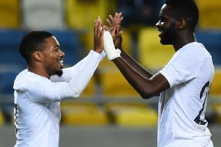 Odsonne Edouard, right, celebrates with Arnaud Nordin during France U21s' win in Slovakia. Picture: AFP via Getty Images