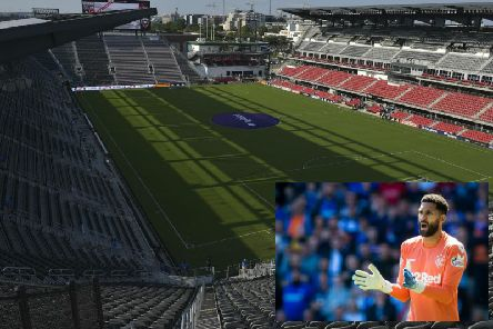 A general view of DC United's Audi Field stadium and, inset, Wes Foderingham