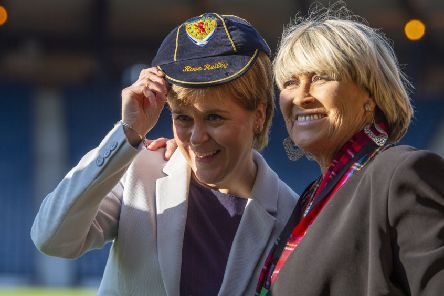 Rose Reilly being presented with a Scotland cap by First Minister Nicola Sturgeon. Picture: Ross Parker/SNS