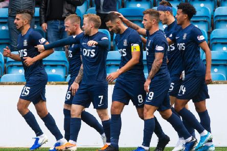 Kilmarnock's players celebrate Rory McKenzie's goal against Livingston