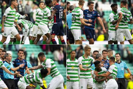 Nir Bitton and Brian Graham clash after the Celtic v Ross County match