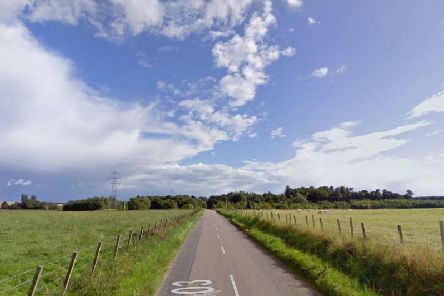 The man wass found beside an orange KTM scrambler bike on the B9103 Sheriffston to Lossiemouth road. Picture: Google