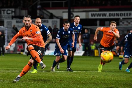 Dundee United's Nicky Clark scores a penalty to make it 1-0. Picture: Alan Harvey / SNS