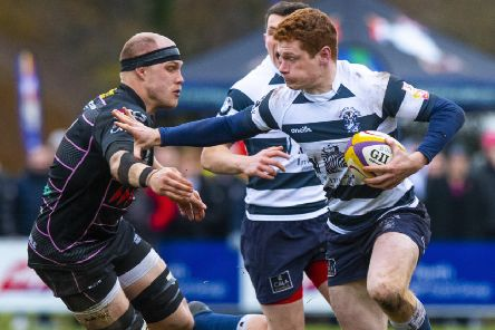 Robert Kay of Heriot's hands off Ayrshire Bulls' Graham Geldenhuys during the Edinburgh side's victory. Picture: SNS/SRU.