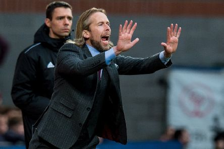Austin MacPhee gestures to the Hearts players during the 5-2 win over St Mirren in his latest game in interim charge. Picture: Ross Parker/SNS