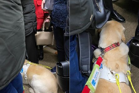 """Jonathan was left to stand on a busy train between Edinburgh and Perth despite asking passengers """"several times"""" for a seat.Pic: @JonAttenborough/Twitter"""