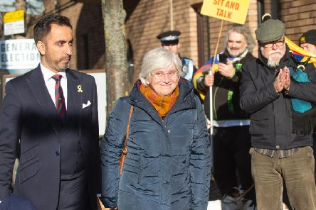 Former Catalan minister Clara Ponsati who is facing extradition to Spain arrives at St Leonard's Police Station, with her lawyer Aamer Anwar. Picture: PA