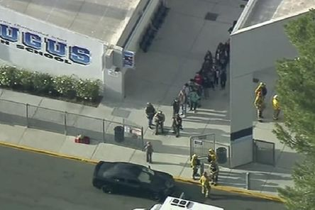 Three students are reportedly injured in the incident which occurred on Thursday morning. Picture: AP/KTTV-TV