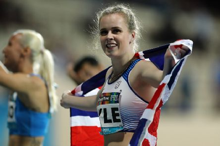 Maria Lyle celebrates after winning the T35 200m in Dubai, four days after success in the 100m. Picture: Getty