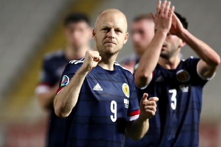 Scotland's Steven Naismith applauds the fans after the final whistle. Pic: Tim Goode/PA