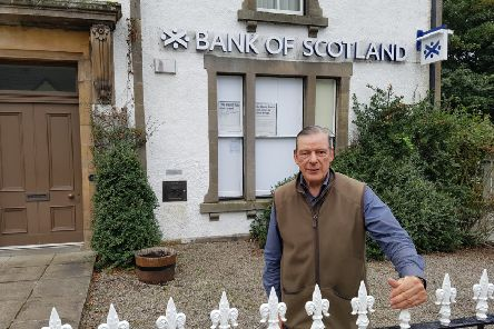 Campaigner Michael Baird outside the former Bank of Scotland in Bonar Bridge