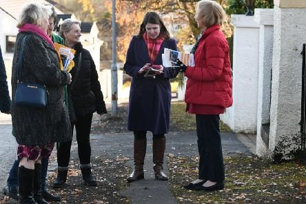 Liberal Democrat leader Jo Swinson out and about canvassing in Milngavie. Picture: John Devlin