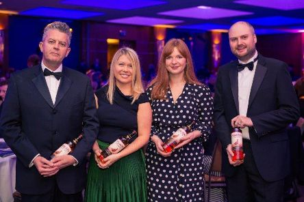 Last year's new Fellows with their personalised Famous Fellow whisky: Steven Pearson ' Whyte and Mackay, Pauline Aylesbury ' Scottish Government, Pam Scobbie ' Wire,��Alan McGarrie ' Tennent's