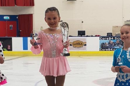 Kirkcaldy Ice Skating Club attended a competition up in Aberdeen with 36 skaters representing the club. In beginner age 8 Niamh Haig 1st (Pale pink dress)
