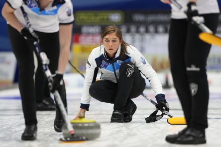 Scotland's Eve Muirhead releases a stone during her team's 10-5 victory over Daniela Jentsch of Germany. Picture: Richard Gray
