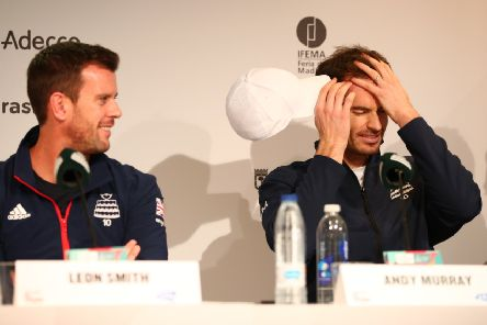 Andy Murray, right, and Leon Smith at a Davis Cup press conference in Madrid. Picture: Clive Brunskill/Getty