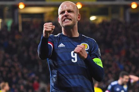 Steven Naismith celebrates his goal against Kazakhstan. Picture: Craig Williamson/SNS