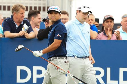 Kurt Kityama and Bob MacIntyre during the first day of the DP World Tour Championship in Dubai. Picture: Andrew Redington/Getty Images