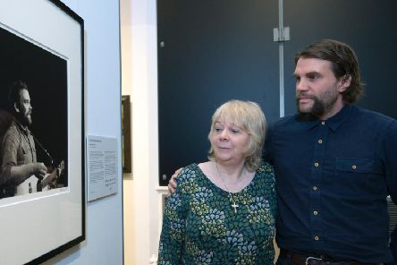 Scott Hutchison's family visited the Scottish National Portrait Gallery in Edinburgh today to see his image on display.