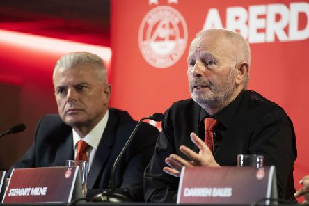 Outgoing Aberdeen chairman Stewart Milne, right, will be handing the reins to Dave Cormack. Picture: Craig Foy/SNS