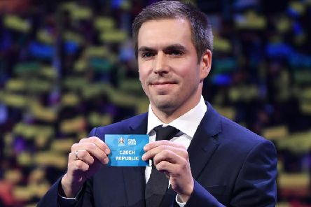 Former Germany player Philipp Lahm holds up a slip of paper after drawing Czech Republic into Group D at Euro 2020 where they will face England, Croatia and potentially Scotland. Picture: AFP/Getty Images