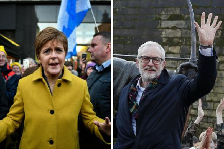 Nicola Sturgeon and Jeremy Corbyn on the campaign trail. Picture: PA