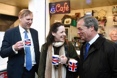 Annunziata Rees-Mogg with Brexit Party leader Nigel Farage