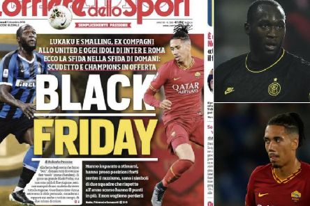 The front page (left) and Lukaku (top right) and Smalling