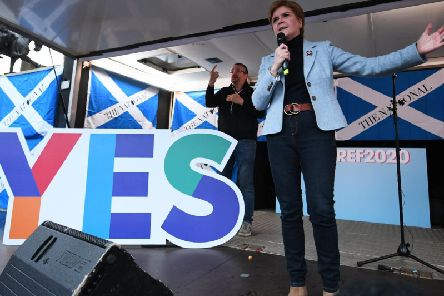 Nicola Sturgeon addresses a pro-independence rally in Glasgow's George Square last month. Picture: John Devlin
