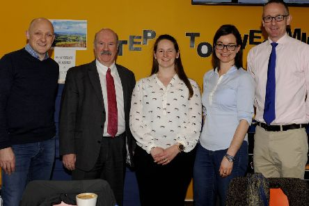 Calum Kerr ,Ian Davidson, Ann Letham, Jenny Marr and John Lamont at UK Government general election hustings held at Borders College in Galashiels.