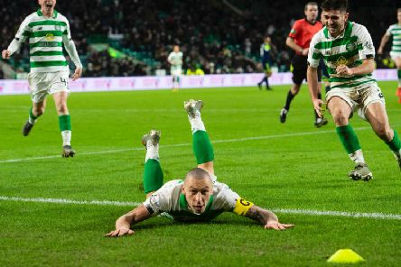 Scott Brown celebrates his late winner against Hamilton