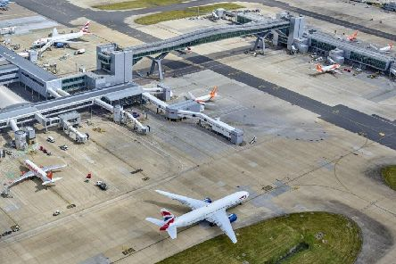 Footage posted online appears to show an officer on board the flight from Krakow in Poland after it landed at Gatwick on Saturday.