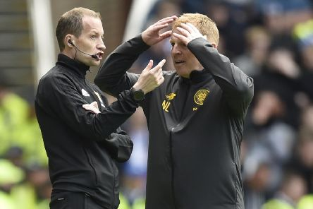 Celtic manager Neil Lennon with Willie Collum during the Ladbrokes Premiership match against Rangers at Ibrox in September. Picture: Rob Casey / SNS