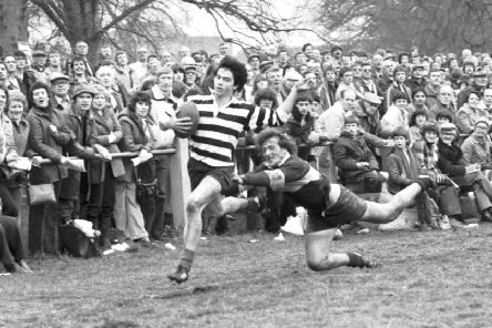 Roger Baird in action for Kelso v Selkirk at the 1981 Melrose Sevens. The former Scotland cap is in hot water over an after-dinner speech. Picture: TSPL