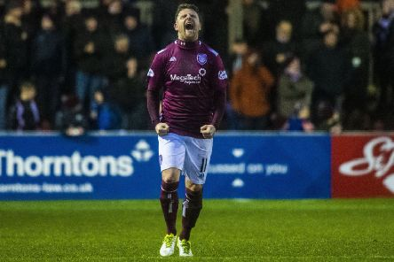 """Arbroath's Bobby Linn celebrates the goal that """"Messi would have been proud of"""". Picture: Euan Cherry / SNS"""