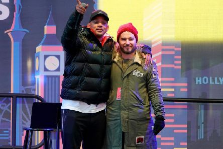 Will Smith (L) and World's Big Sleep Out Founder Josh Littlejohn speak onstage during the The World's Big Sleep Out at Times Square in New York City. Picture: Jemal Countess/Getty Images for The World's Big Sleep Out