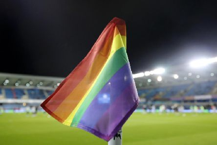 A croner flag supporting the Rainbow Laces campaign