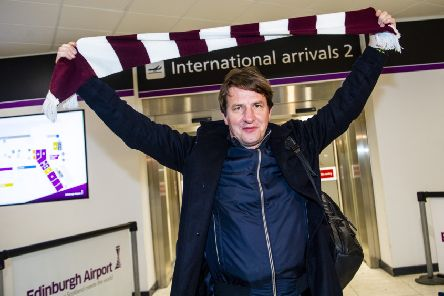 New Hearts manager Daniel Stendel arrives at Edinburgh Airport. Picture: Bill Murray/SNS