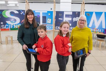 From left: Jill Glennie with Ain Gibson and Grace Milne - P6 pupils from Whitehills School - and Liz Hodge from Aberdeen Science Centre.Picture: Contributed