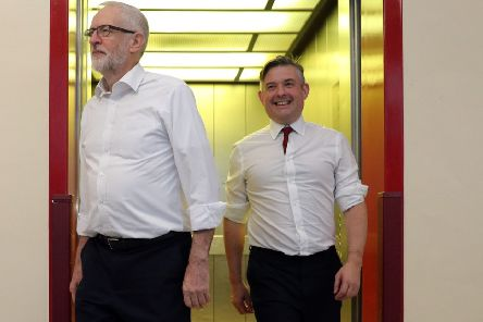 Labour Party leader Jeremy Corbyn (left) and shadow health secretary Jonathan Ashworth during a visit to Crawley Hospital in West Sussex. Picture: Andrew Matthews/PA Wire