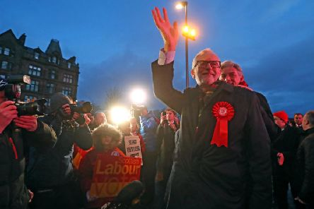 Jeremy Corbyn delivers a stump speech at Govan Cross on Wednesday as the Labour leader begins a six-stop tour of the UK