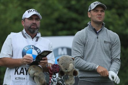 Martin Kaymer looks on with caddie Craig Connelly during the BMW International Open at Golf Club Gut Larchenhof in 2018. Picture: Matthew Lewis/Getty Images