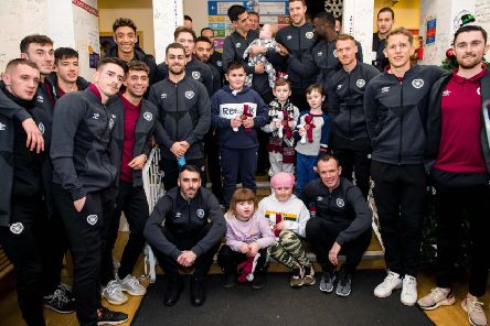 Sean Clare and the rest of the Hearts squad visited young patients at Edinburgh's Royal Hospital for Sick Children. Picture: Ross Parker/SNS
